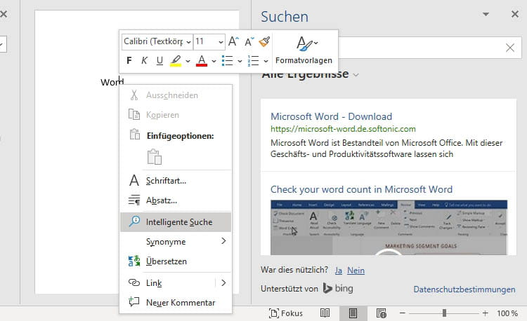 Screenshot: Intelligente Suche