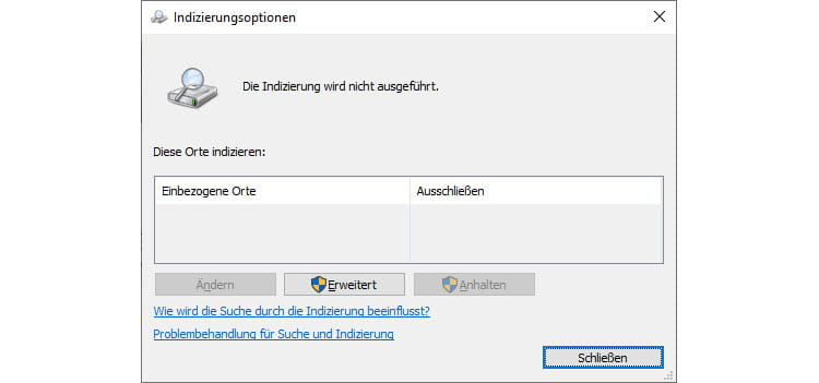 Screenshot - Windows Indizierungsoptionen