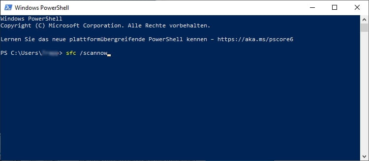 Screenshot - PowerShell sfc /scannow