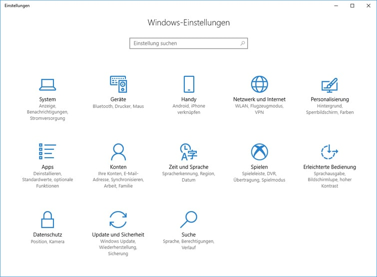 Windows-Einstellungen Update