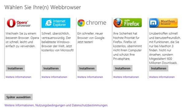 Browserauswahl Windows 8.1