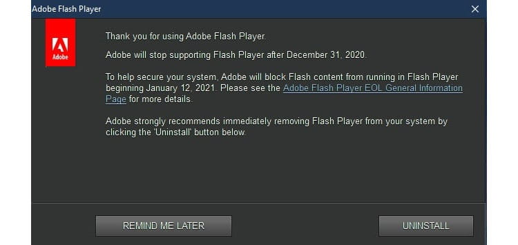 Popup-Meldung Adobe Flash Player